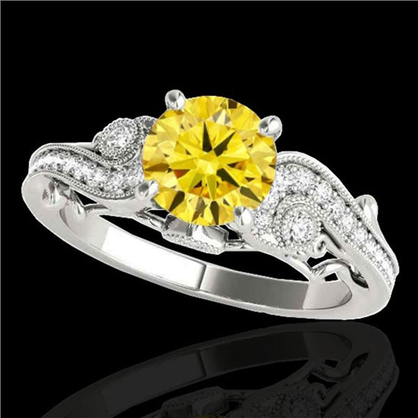 1.25 ctw Certified SI Intense Yellow Diamond Antique Ring 10k White Gold - REF-184X3A