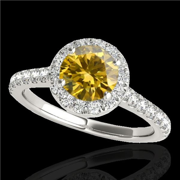 1.70 ctw Certified SI/I Fancy Intense Yellow Diamond Ring 10k White Gold - REF-257F8M