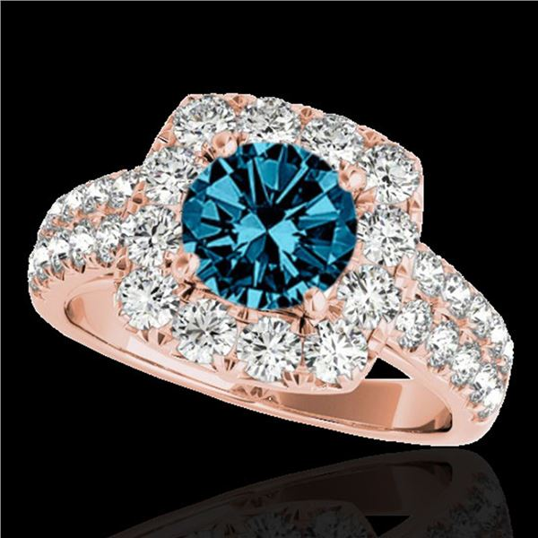 2.5 ctw SI Certified Fancy Blue Diamond Solitaire Halo Ring 10k Rose Gold - REF-211R4K