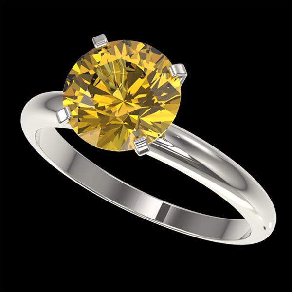 2.50 ctw Certified Intense Yellow Diamond Solitaire Ring 10k White Gold - REF-564G5W