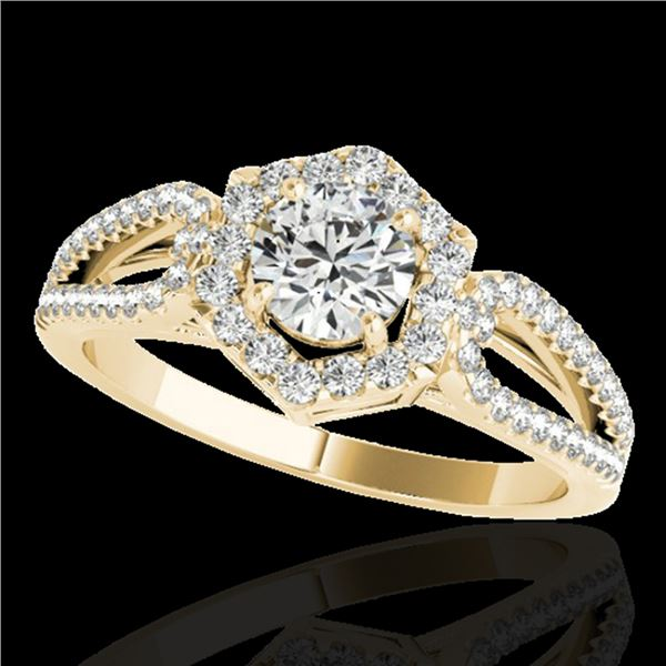 1.43 ctw Certified Diamond Solitaire Halo Ring 10k Yellow Gold - REF-204G5W
