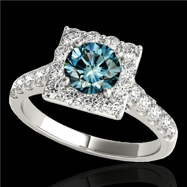 2 ctw SI Certified Blue Diamond Solitaire Halo Ring 10k White Gold - REF-158H2R