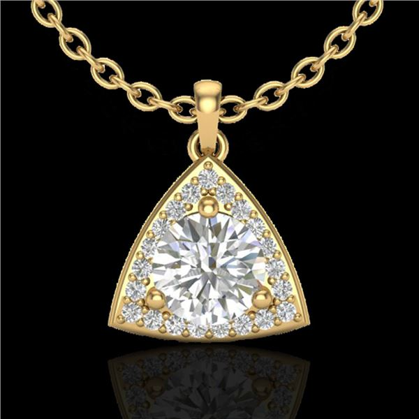 1.50 ctw Micro Pave VS/SI Diamond Certified Necklace 18k Yellow Gold - REF-385X8A