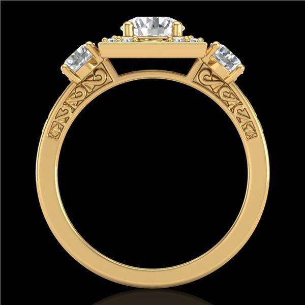 1.55 ctw VS/SI Diamond Solitaire Art Deco 3 Stone Ring 18k Yellow Gold - REF-263Y6X