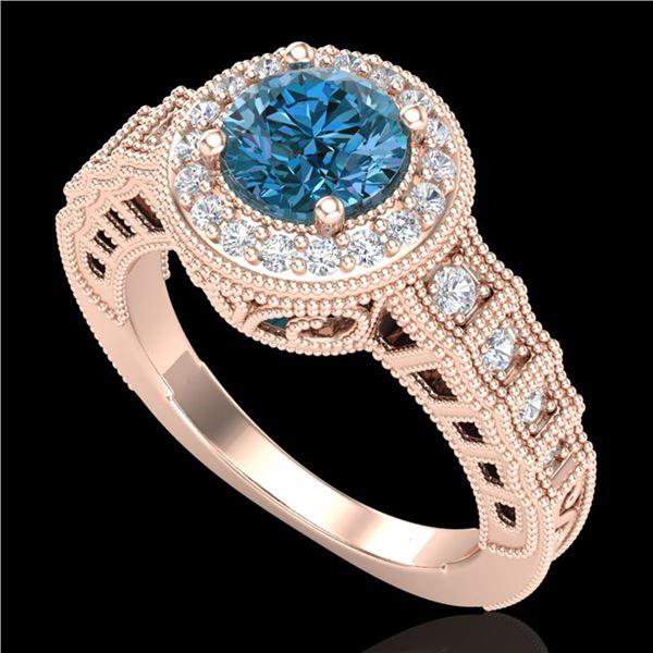 1.53 ctw Fancy Intense Blue Diamond Art Deco Ring 18k Rose Gold - REF-236N4F