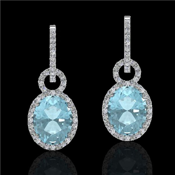 6 ctw Aquamarine & Micro Pave VS/SI Diamond Earrings 14k White Gold - REF-125X5A
