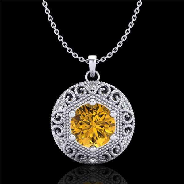 1.11 ctw Intense Fancy Yellow Diamond Art Deco Necklace 18k White Gold - REF-236H4R