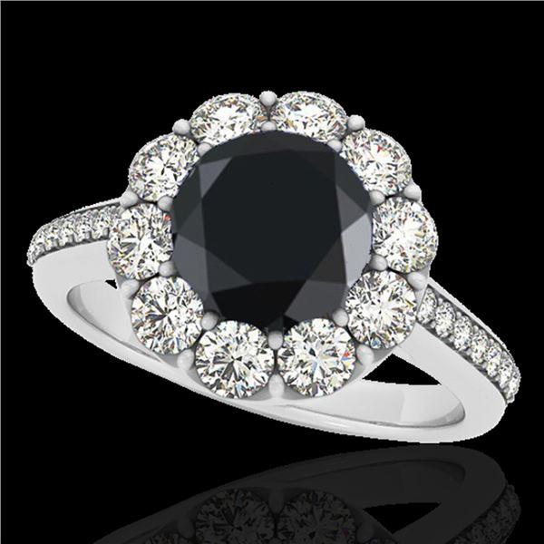 2.75 ctw Certified VS Black Diamond Solitaire Halo Ring 10k White Gold - REF-89K6Y