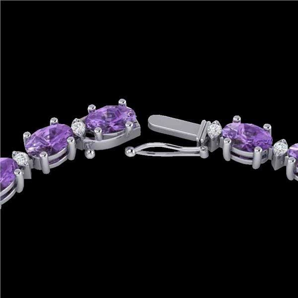 28 ctw Amethyst & VS/SI Diamond Certified Eternity Necklace 10k White Gold - REF-146R5K