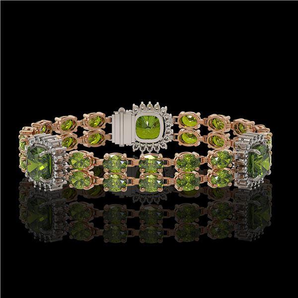 18.93 ctw Tourmaline & Diamond Bracelet 14K Rose Gold - REF-314N8F