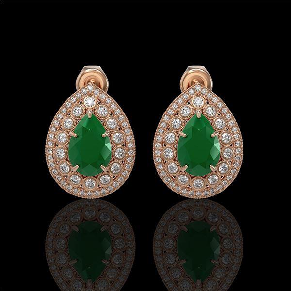 9.74 ctw Certified Emerald & Diamond Victorian Earrings 14K Rose Gold - REF-309K3Y