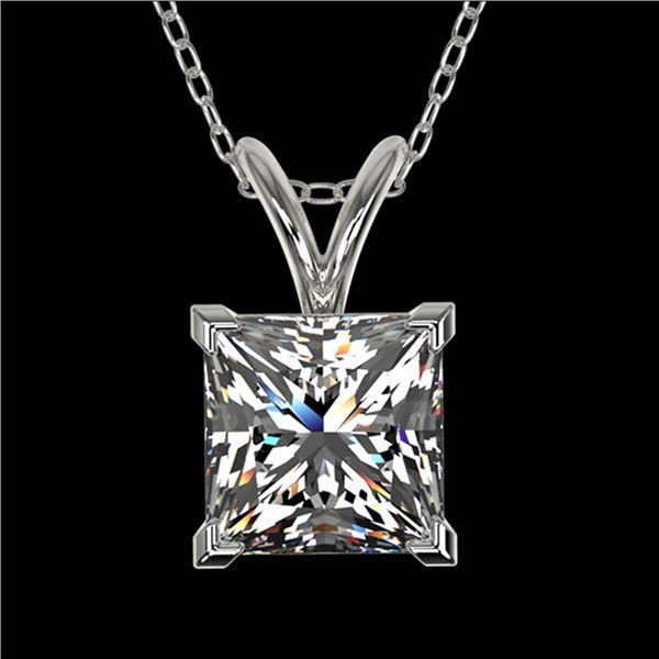 1.25 ctw Certified VS/SI Quality Princess Diamond Necklace 10k White Gold - REF-325F2M