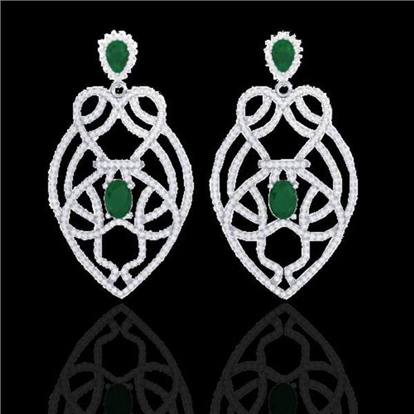 7 ctw Emerald & Micro VS/SI Diamond Heart Earrings 14k White Gold - REF-381Y8X