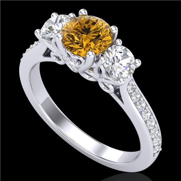 1.67 ctw Intense Fancy Yellow Diamond Art Deco Ring 18k White Gold - REF-227N3F