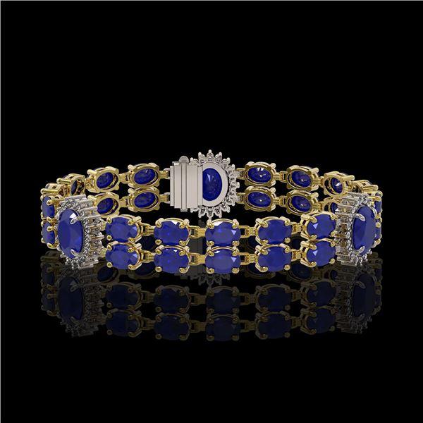 20.99 ctw Sapphire & Diamond Bracelet 14K Yellow Gold - REF-250K9Y