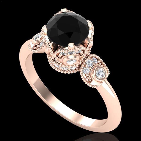 1.75 ctw Fancy Black Diamond Engagment Art Deco Ring 18k Rose Gold - REF-134X5A
