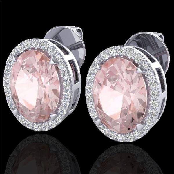 5.50 ctw Morganite & Micro VS/SI Diamond Halo Earrings 18k White Gold - REF-125G5W