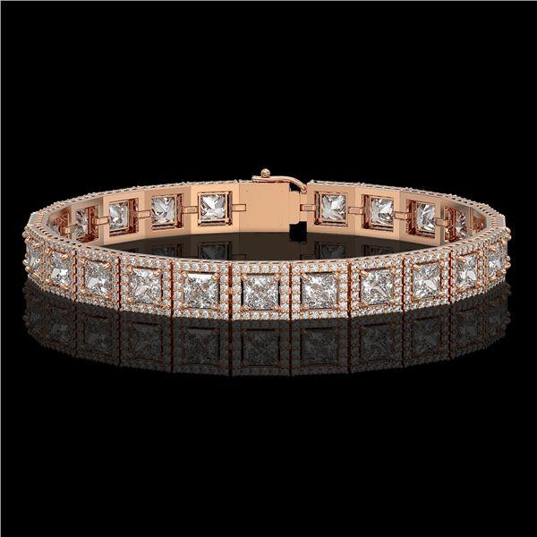 15.87 ctw Princess Cut Diamond Micro Pave Bracelet 18K Rose Gold - REF-2171X9A