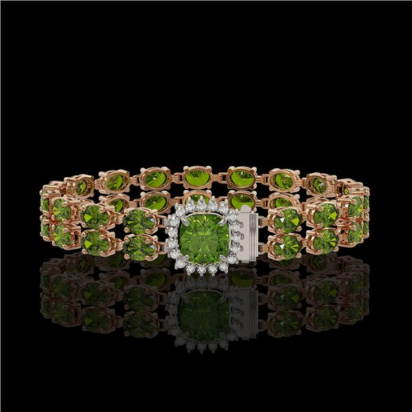 17.35 ctw Tourmaline & Diamond Bracelet 14K Rose Gold - REF-245K5Y