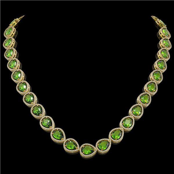 33.6 ctw Peridot & Diamond Micro Pave Halo Necklace 10k Yellow Gold - REF-675G3W