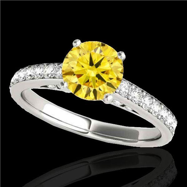 1.5 ctw Certified SI/I Fancy Intense Yellow Diamond Ring 10k White Gold - REF-184W3H