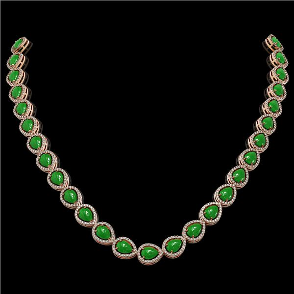 29.73 ctw Jade & Diamond Micro Pave Halo Necklace 10k Yellow Gold - REF-588Y5X