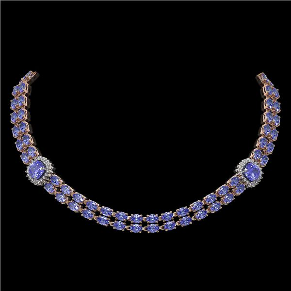 37.96 ctw Tanzanite & Diamond Necklace 14K Rose Gold - REF-527A3N