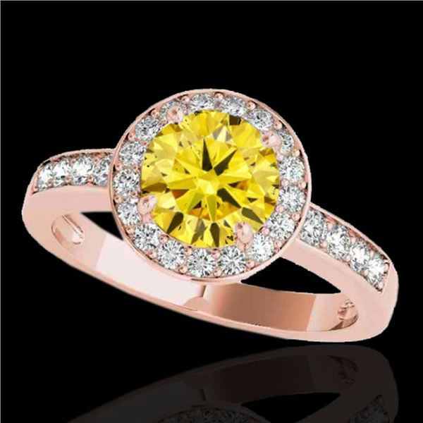 2 ctw Certified SI/I Fancy Intense Yellow Diamond Halo Ring 10k Rose Gold - REF-327X3A