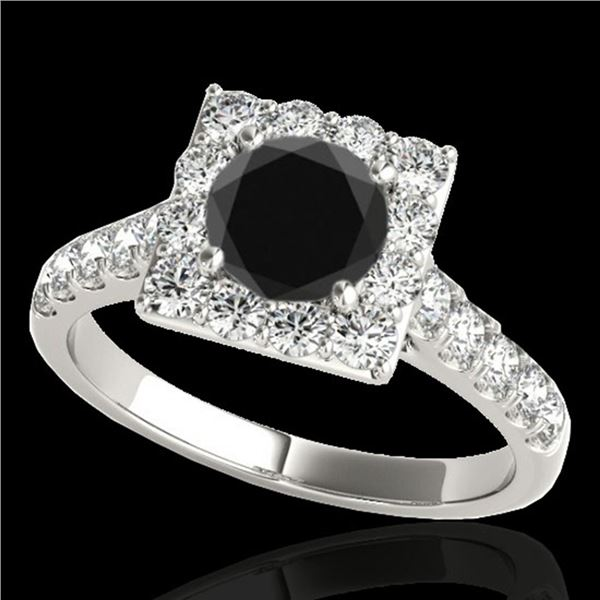 2 ctw Certified VS Black Diamond Solitaire Halo Ring 10k White Gold - REF-76H4R