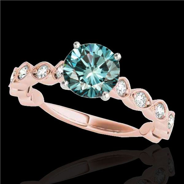 1.75 ctw SI Certified Fancy Blue Diamond Solitaire Ring 10k Rose Gold - REF-170N5F