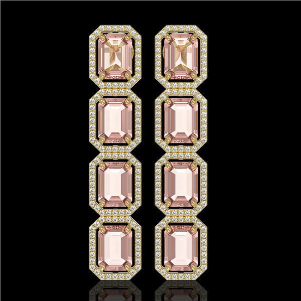 19.81 ctw Morganite & Diamond Micro Pave Halo Earrings 10k Yellow Gold - REF-424Y8X