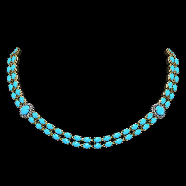 29.16 ctw Turquoise & Diamond Necklace 14K Yellow Gold - REF-454G5W