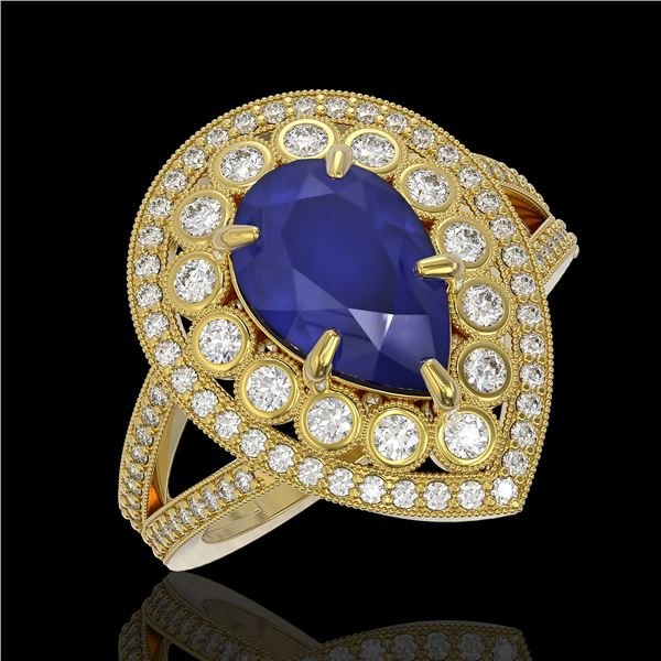 5.12 ctw Certified Sapphire & Diamond Victorian Ring 14K Yellow Gold - REF-161X8A