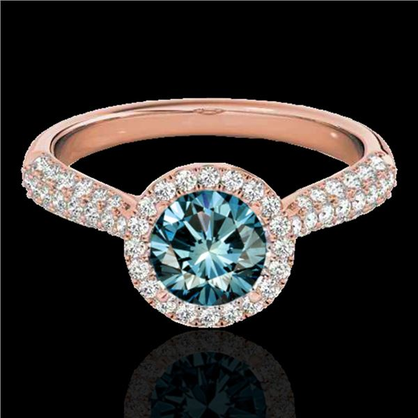 1.40 ctw SI Certified Fancy Blue Diamond Solitaire Halo Ring 10k Rose Gold - REF-127M8G