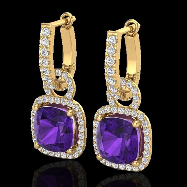 7 ctw Amethyst & Micro Pave VS/SI Diamond Earrings 18k Yellow Gold - REF-118A2N