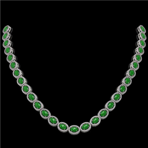 34.11 ctw Jade & Diamond Micro Pave Halo Necklace 10k White Gold - REF-617W6H