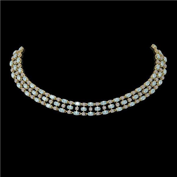 42.53 ctw Aquamarine & Diamond Necklace 10K Yellow Gold - REF-709M3G