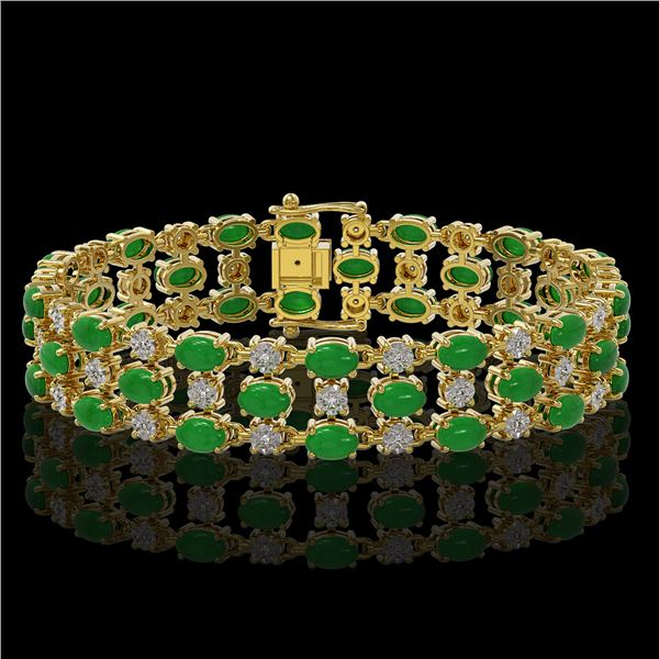25.85 ctw Jade & Diamond Bracelet 10K Yellow Gold - REF-227A3N