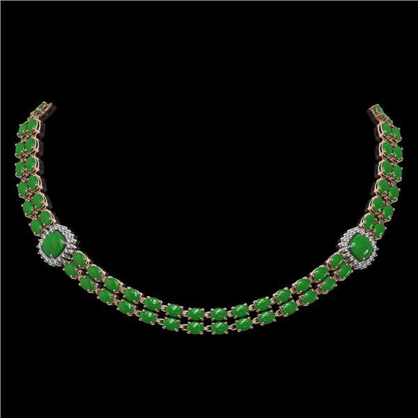 29.39 ctw Jade & Diamond Necklace 14K Rose Gold - REF-527G3W