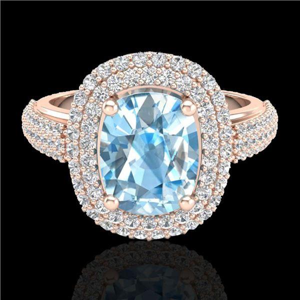 3.50 ctw TOPAZ & Micro Pave VS/SI Diamond Certified Ring 10k Rose Gold - REF-94G9W