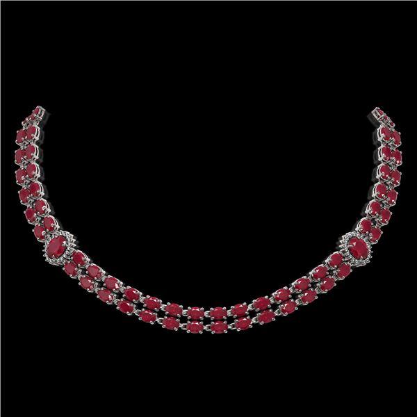 43.13 ctw Ruby & Diamond Necklace 14K White Gold - REF-527H3R