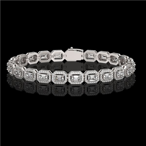 8.83 ctw Emerald Cut Diamond Micro Pave Bracelet 18K White Gold - REF-1051R2K