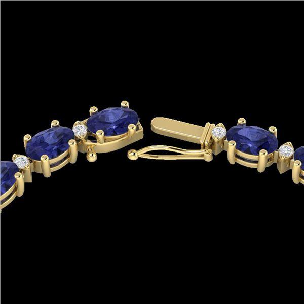 34 ctw Tanzanite & VS/SI Diamond Eternity Necklace 10k Yellow Gold - REF-281W8H