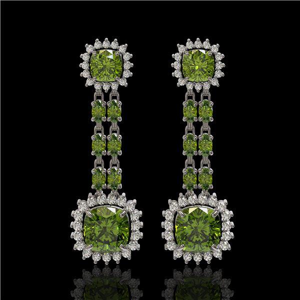 18.38 ctw Tourmaline & Diamond Earrings 14K White Gold - REF-416R9K