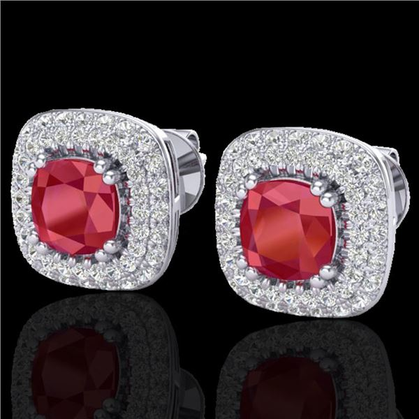 2.16 ctw Ruby & Micro VS/SI Diamond Earrings Halo 18k White Gold - REF-105Y6X
