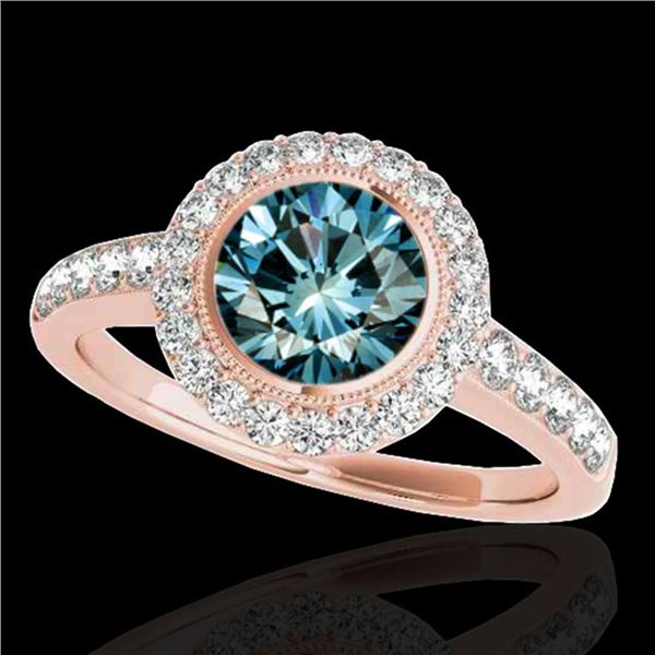 1.5 ctw SI Certified Fancy Blue Diamond Solitaire Halo Ring 10k Rose Gold - REF-135H2R