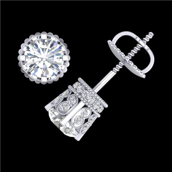 3 ctw VS/SI Diamond Solitaire Art Deco Stud Earrings 18k White Gold - REF-584K3Y