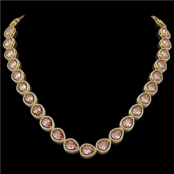 41.6 ctw Morganite & Diamond Micro Pave Halo Necklace 10k Yellow Gold - REF-1024Y4X