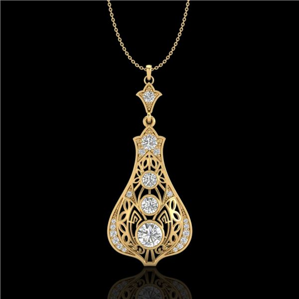 1.75 ctw VS/SI Diamond Art Deco Stud Necklace 18k Yellow Gold - REF-272R8K