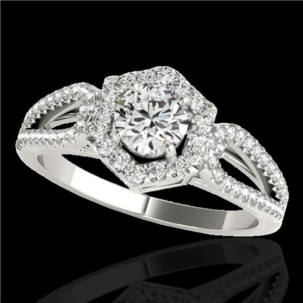 1.43 ctw Certified Diamond Solitaire Halo Ring 10k White Gold - REF-204A5N